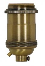 Satco Products Inc. 80/2567 - Medium base lampholder; 4pc. Solid brass; Keyless; 2 Uno rings; Antique brass finish