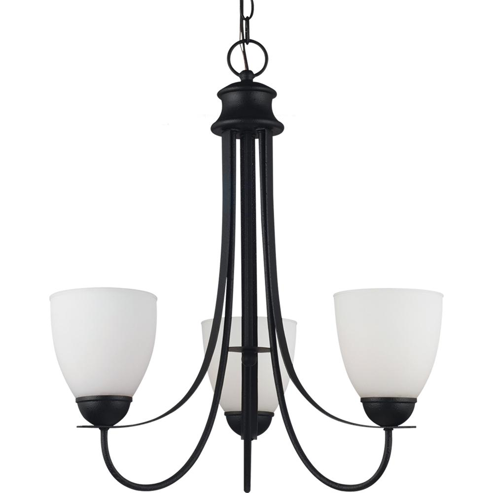 Uptown Three Light Chandelier in Blacksmith Finish with Satin Etched Glass