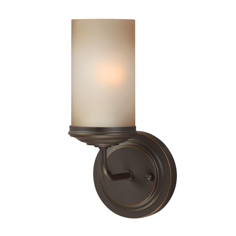 Fluorescent Sfera One Light Wall / Bath Sconce in Autumn Bronze with Smokey Amber Glass