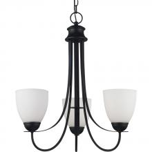 Sea Gull Canada 31270BLE-839 - Fluorescent Uptown Three Light Chandelier in Blacksmith Finish with Satin Etched Glass