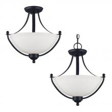 Sea Gull Canada 77270BLE-839 - Fluorescent Uptown Two Light Semi-Flush Convertible Pendant in Blacksmith with Satin Etched Glass