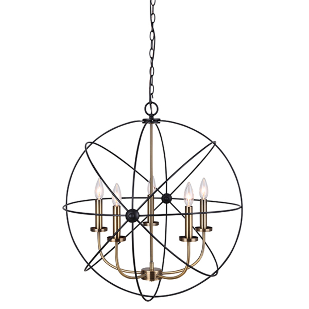 "SUMERSIDE, ICH282B05BKG25, MBK + Gold Color, 5 Lt Chain Chandelier, 60W Type C, 25"" x 26 1/2&#34"