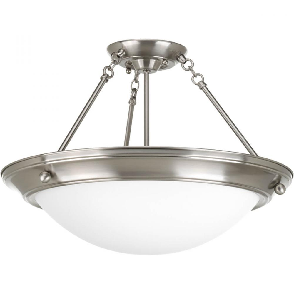 Three Light Brushed Nickel Satin White Glass Bowl Semi-Flush Mount