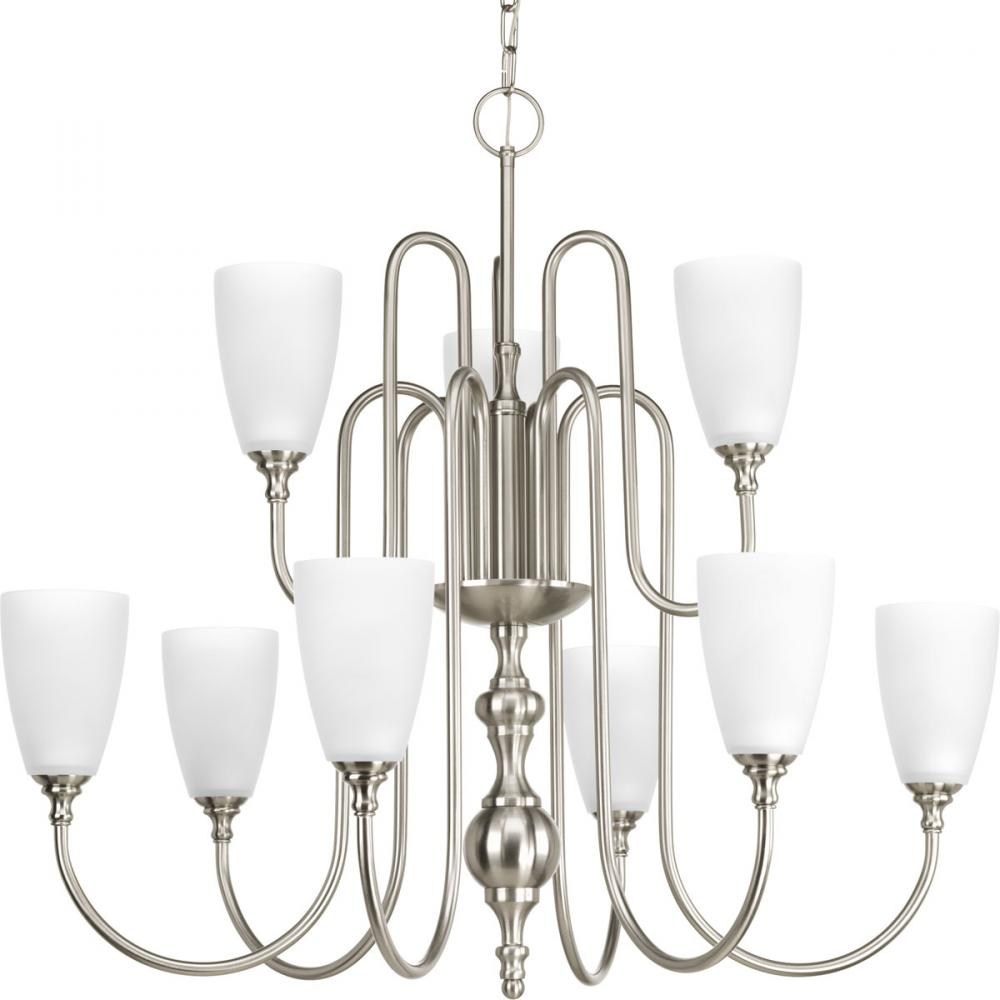 9-Lt., 2-Tier Chandelier with Etched glass