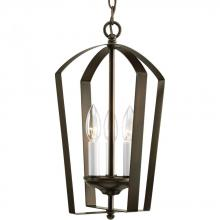 Progress P3928-20 - Three Light Antique Bronze White Finish Candle Sleeves Glass Open Frame Foyer Hall Fixture