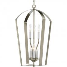 Progress P3929-09 - Six Light Brushed Nickel White Finish Candle Sleeves Glass Open Frame Foyer Hall Fixture