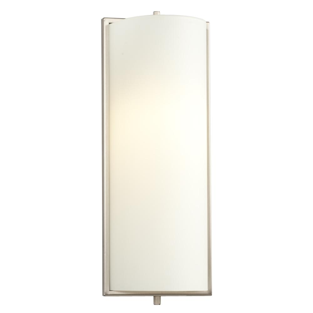 Wall Sconce - Brushed Nickel with Satin White Glass