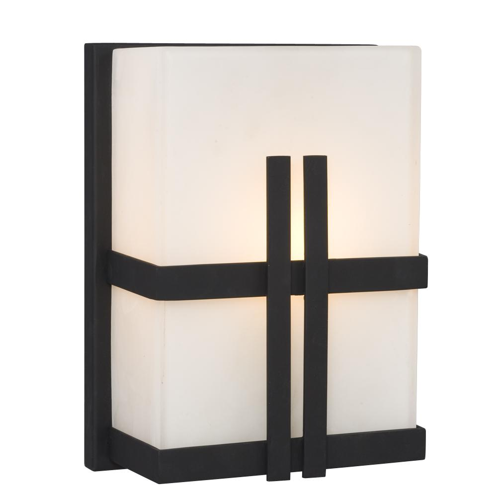 1-Light Outdoor/Indoor Wall Sconce - Black with Satin White Glass