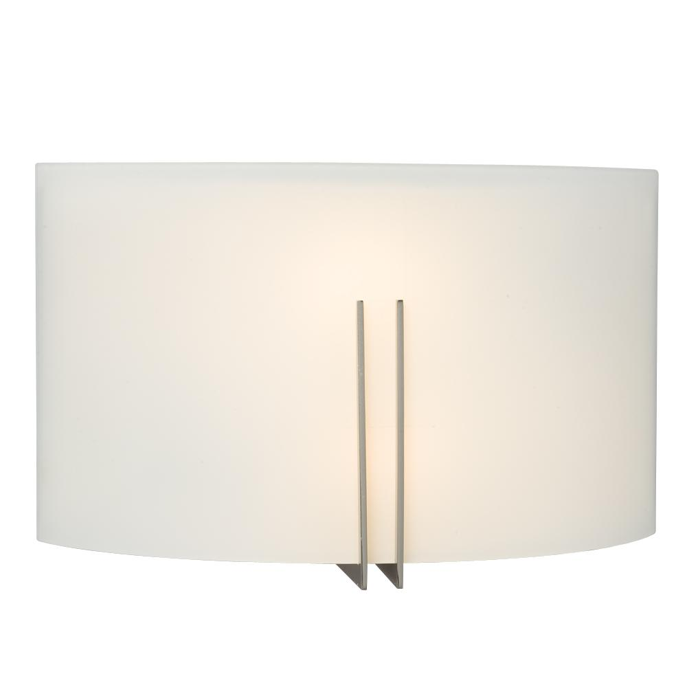 2-Light Wall Sconce - Brushed Nickel with Satin White Glass
