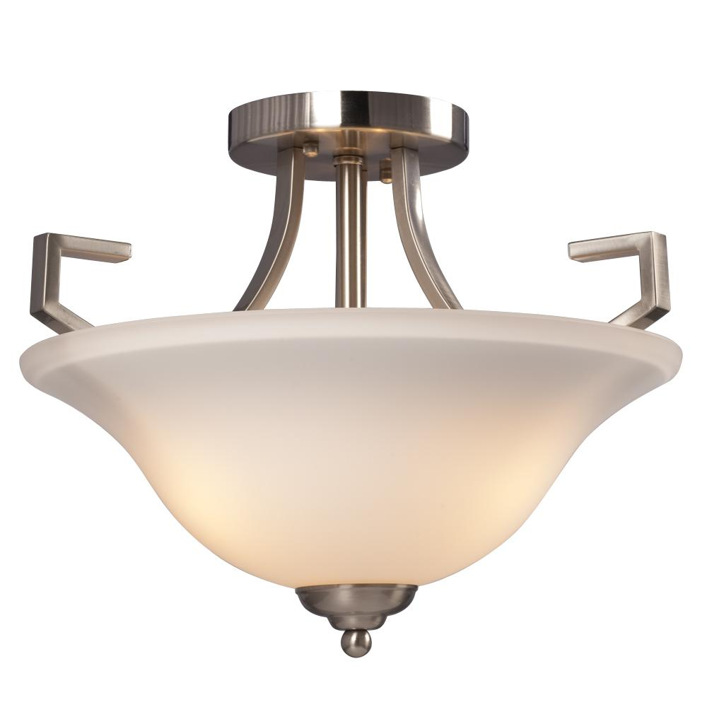 3-Light Semi-Flush Mount - Brushed Nickel with White Glass