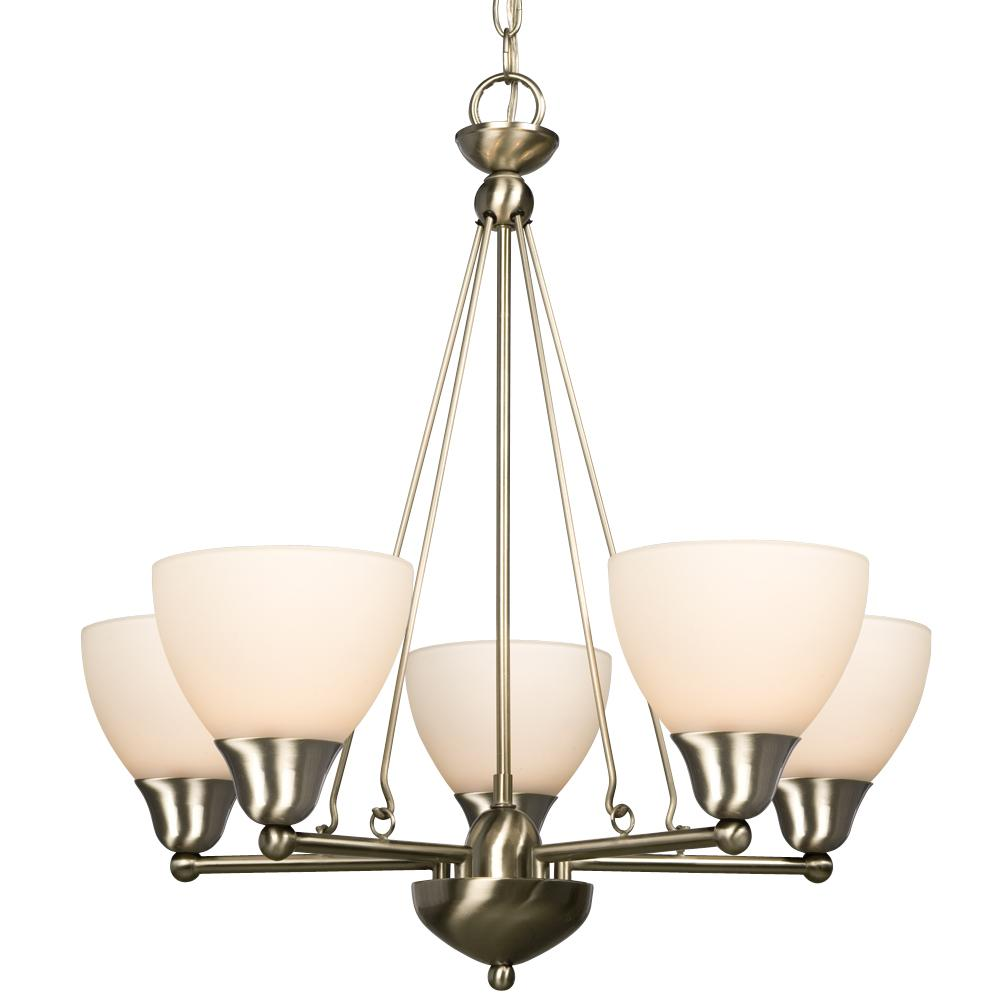 Five Light Chandelier - Brushed Nickel w/ Frosted White Glass