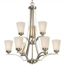 Galaxy Lighting 810756BN - 9-Light 2-Tier Chandelier - Brushed Nickel with White Glass
