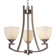Galaxy Lighting 813031BN - 3-Light Chandelier - Brushed Nickel with White Glass
