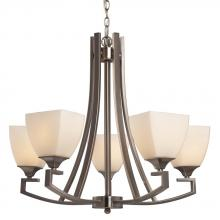 Galaxy Lighting 813033BN - 5-Light Chandelier - Brushed Nickel with White Glass