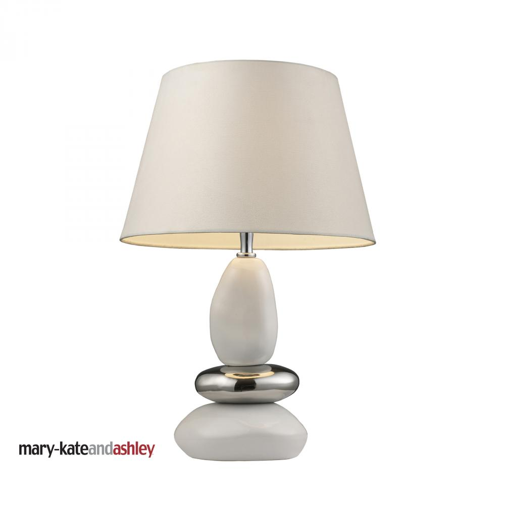 One Light White & Chrome Table Lamp